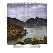 Stormy Day At The Lake  Shower Curtain