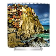 Stormy Day In Manarola - Cinque Terre Shower Curtain