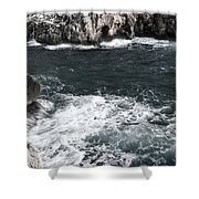 Mediterranean Sea And Rocks Sculpted By Wind And Salt In South Of Menorca Shower Curtain