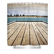 Stormy Jetty Shower Curtain