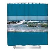 Stormy Lagune - Blue Seascape Shower Curtain