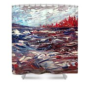 Stormy Lake Abstract Shower Curtain