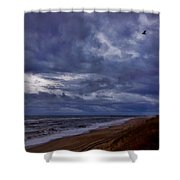 Stormy Morning Over Avon Pier 4 11/11 Shower Curtain