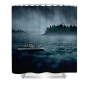 Stormy Night Off The Coast Of Maine Shower Curtain