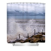 Stormy Seafront  Shower Curtain
