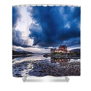 Stormy Skies Over Eilean Donan Castle Shower Curtain
