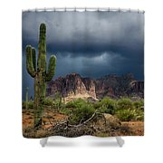 Stormy Skies Over The Superstitions Shower Curtain