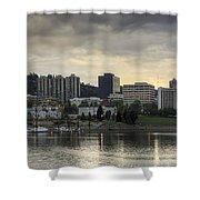 Stormy Sky Over Portland Skyline Panorama Shower Curtain