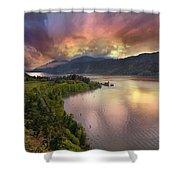 Stormy Sunset Over Columbia River Gorge At Hood River Shower Curtain
