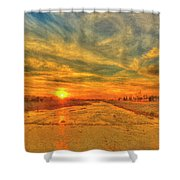 Stormy Sunset Over Santa Ana River Shower Curtain