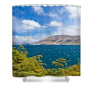 Stormy Surface Of Lake Wanaka In Central Otago On South Island Of New Zealand Shower Curtain