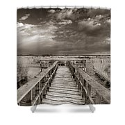 Stormy Weather At The Lake Vintage Shower Curtain