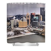 Stormy Winter Skies Over The Point Shower Curtain