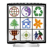 Story Line Happy Couples Happy Homes Focus Award Reward Green Balance Growth World  Signature Style  Shower Curtain