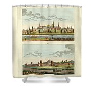 Strange Buildings In Russia Shower Curtain by Splendid Art Prints
