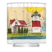 Stratford Pt Lighthouse Ct Nautical Chart Map Art Shower Curtain