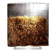 Straw Bale In Old Barn Shower Curtain