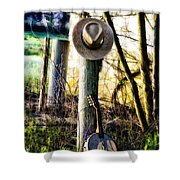 Straw Hat And Banjo Mandolin Shower Curtain