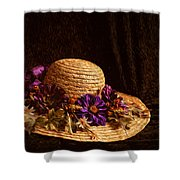 Straw Hat And Flowers Shower Curtain