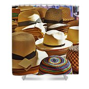 Straw Hats Shower Curtain