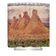 Straw Stacks Shower Curtain by Georges Pierre Seurat