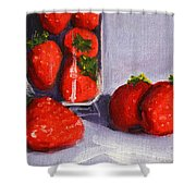 Strawberries And Glass Shower Curtain