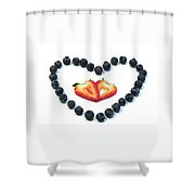 Strawberries Are Red Blueberries Are Blue Shower Curtain
