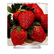 Strawberries Expressive Brushstrokes Shower Curtain
