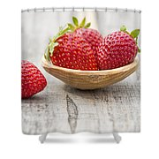 Strawberries In A Wooden Spoon Shower Curtain
