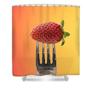 Strawberry On Fork Shower Curtain