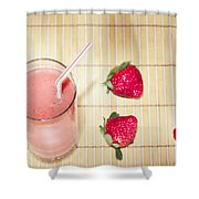 Strawberry Smoothie Shower Curtain