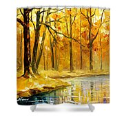 Stream In The Forest - Palette Knife Oil Painting On Canvas By Leonid Afremov Shower Curtain