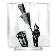 Stream Spreading Water Nozzle, 1865 Shower Curtain