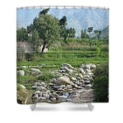 Stream Trees House And Mountains Swat Valley Pakistan Shower Curtain