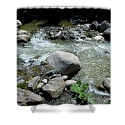 Stream Water Foams And Rushes Past Boulders Shower Curtain