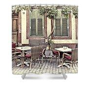 Street Cafe In Heidelberg Shower Curtain