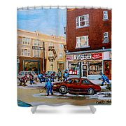 Street Hockey On Monkland Avenue Paintings Of Montreal City Scenes Shower Curtain