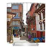 Street In Bhaktapur-city Of Devotees-nepal  Shower Curtain