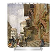 Street In Bombay, From India Ancient Shower Curtain