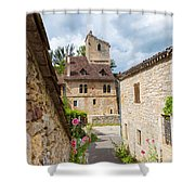 Street In Saint-cirq-lapopie Shower Curtain