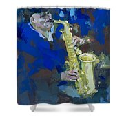 Street Jazzman Near Park  Shower Curtain