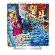 Street Kiss By Night  Shower Curtain
