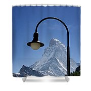 Street Lamp And Mountain Shower Curtain by Mats Silvan
