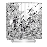 Street Lamps And Straight Lines Shower Curtain