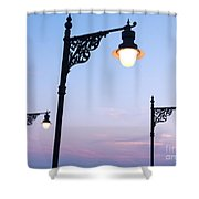 Street Lamps Over Sunset Sky Background Shower Curtain
