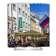 Street Life - Tallin Estonia  Shower Curtain