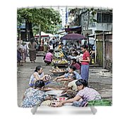 Street Market In Yangon Myanmar Shower Curtain