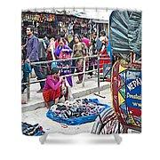 Street Market View From A Rickshaw In Kathmandu Durbar Square-nepal Shower Curtain