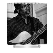 Street Musician Black And White Shower Curtain
