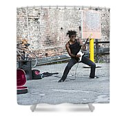 Street Musician Milan Italy Shower Curtain